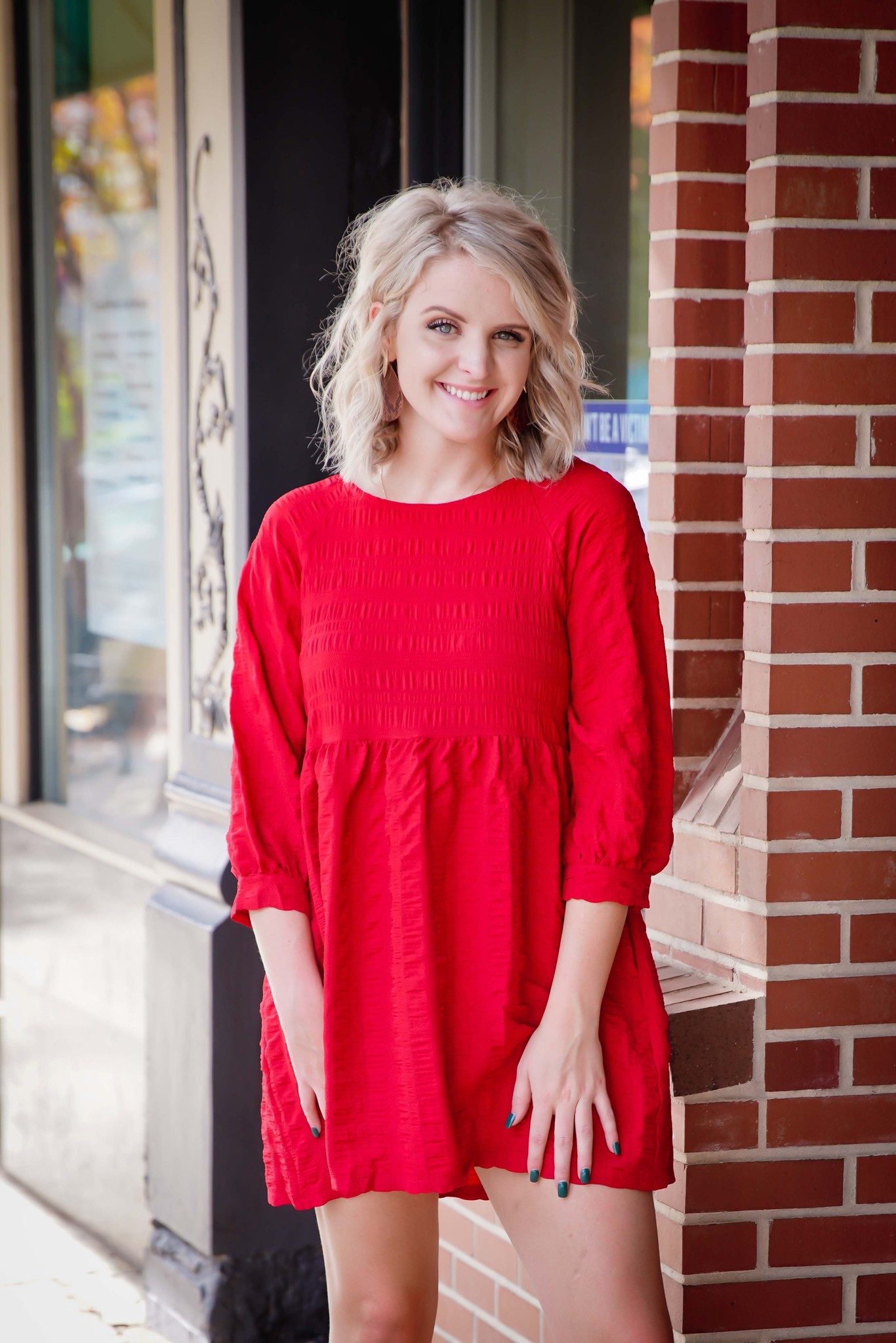Entro Red Textured Bubble Sleeve Dress