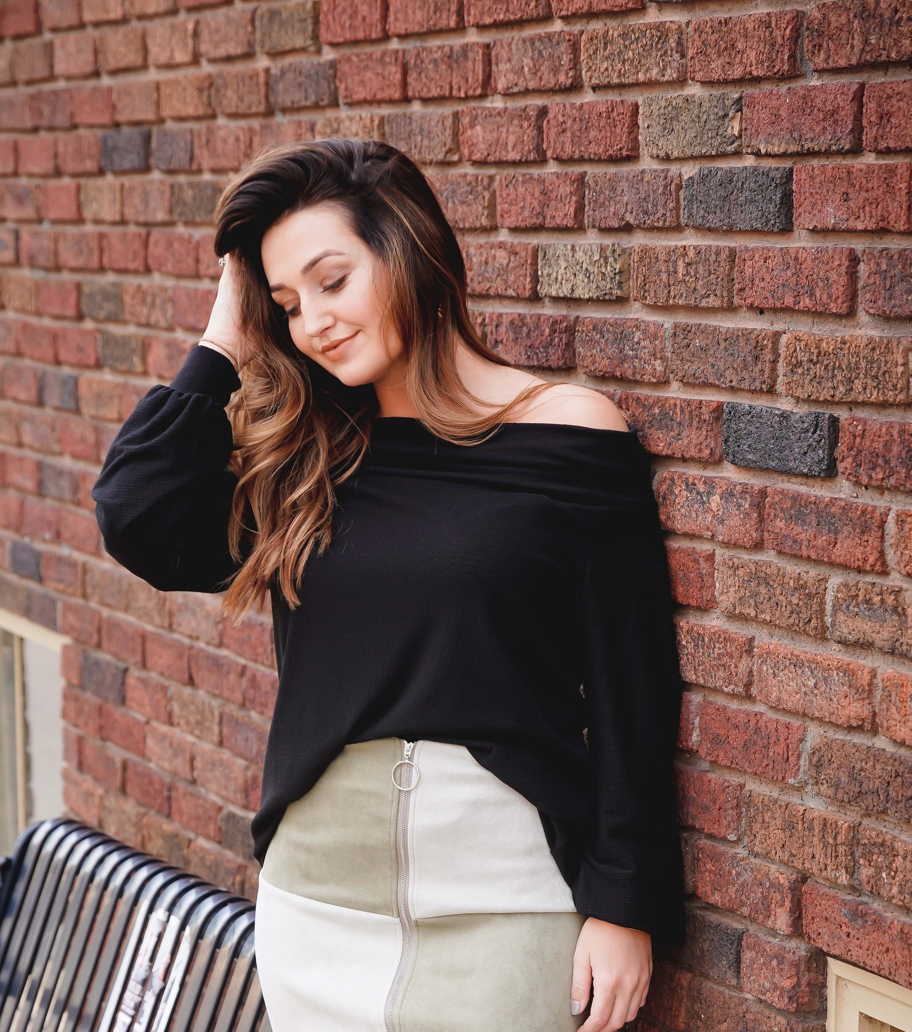 Entro Black Off Shoulder Waffle Knit Top