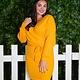 Love Tree Mustard Dress w/ V-cut Top & Waist Tie