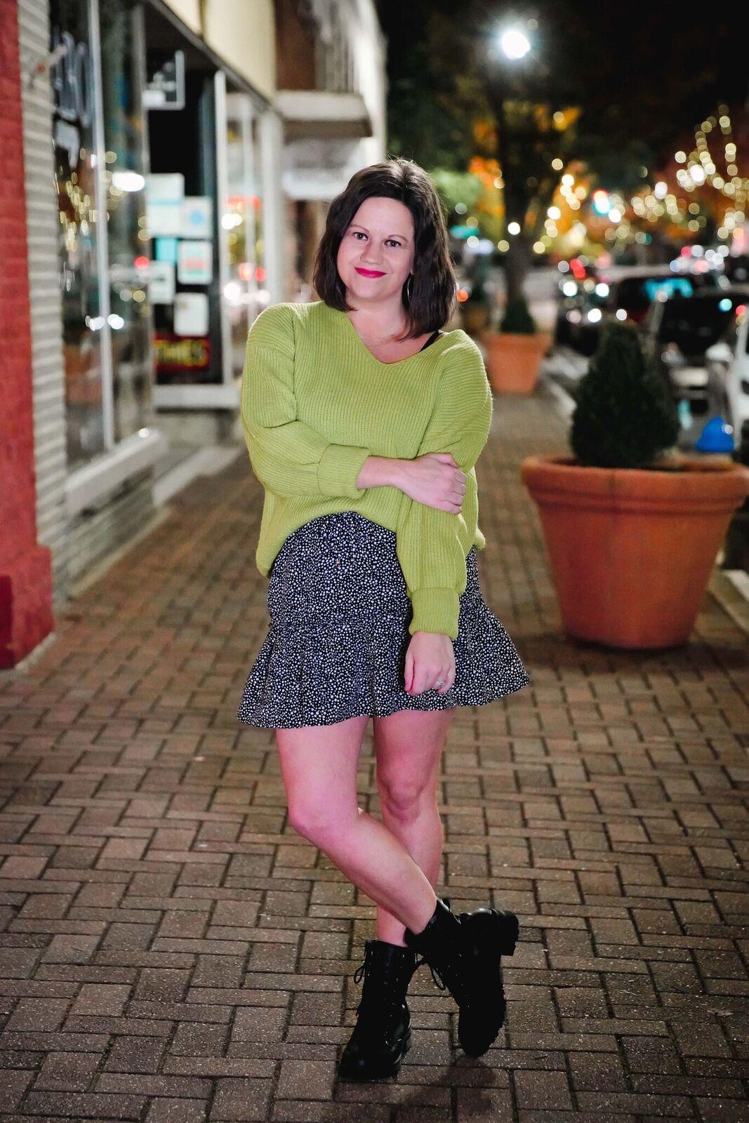 Lush Lime V-Neckline Loose Sweater