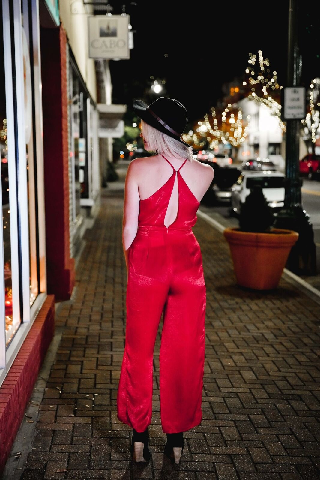 Lush Lipstick Red Tie Back Jumpsuit