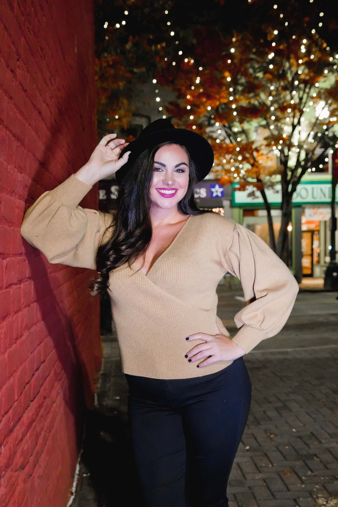 Lush Camel V-Neck Front Crossover Sweater