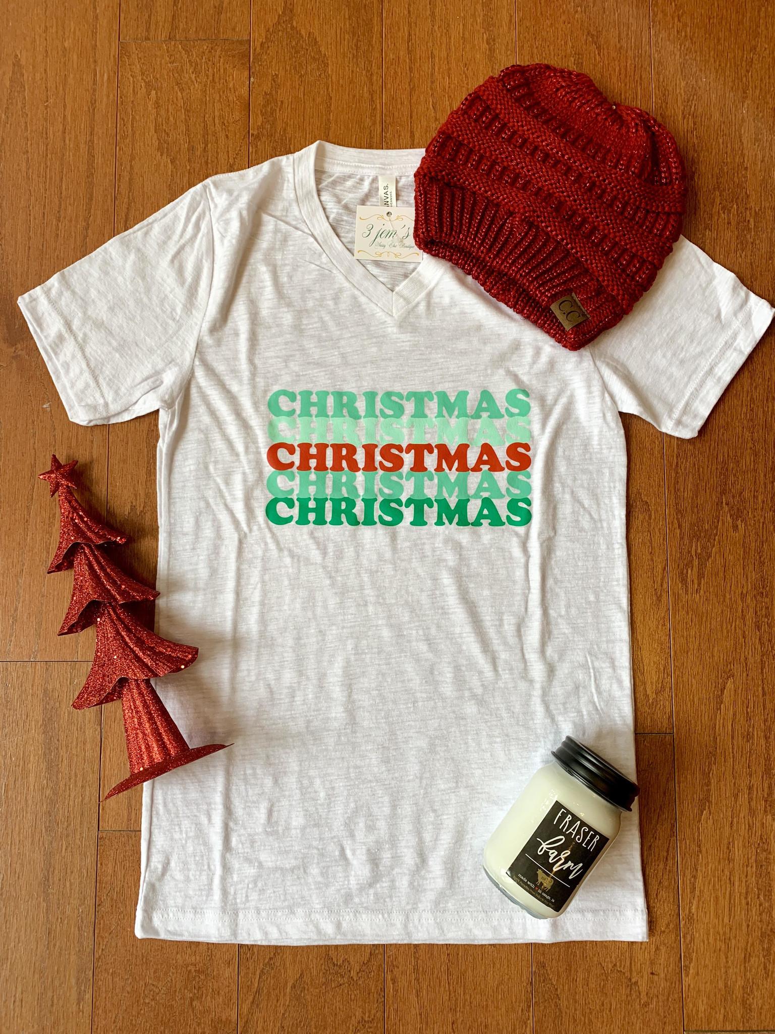Vintage Soul White V Neck Christmas Tee