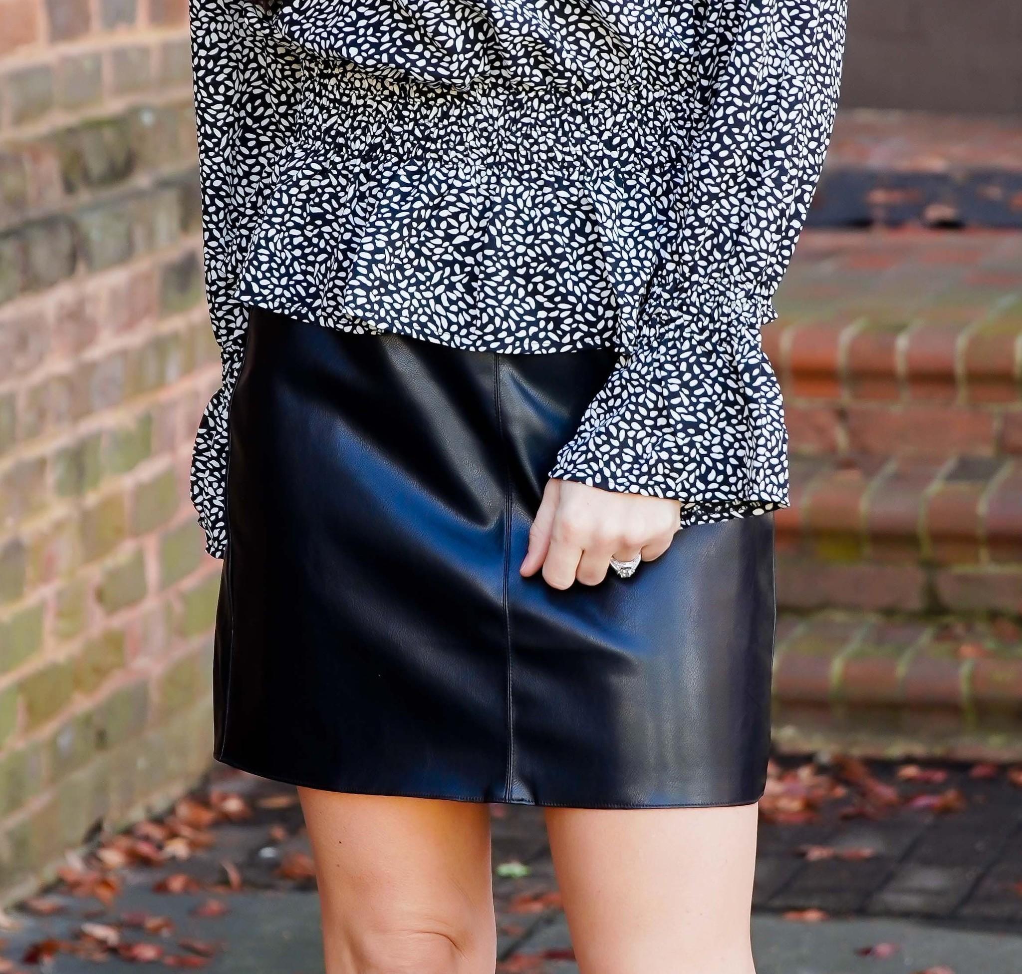 Style Rack Black Leather Mini Skirt