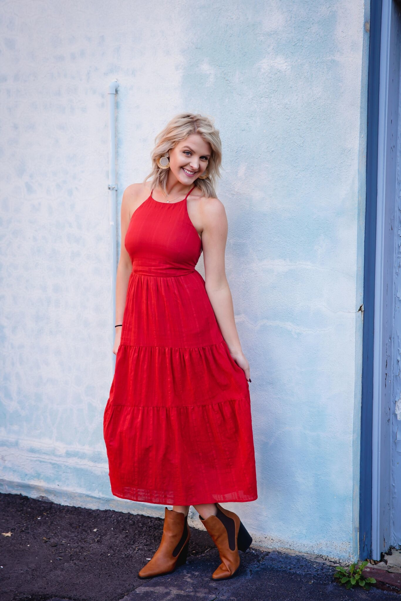 Lush Red Halter Strappy Back Maxi Dress