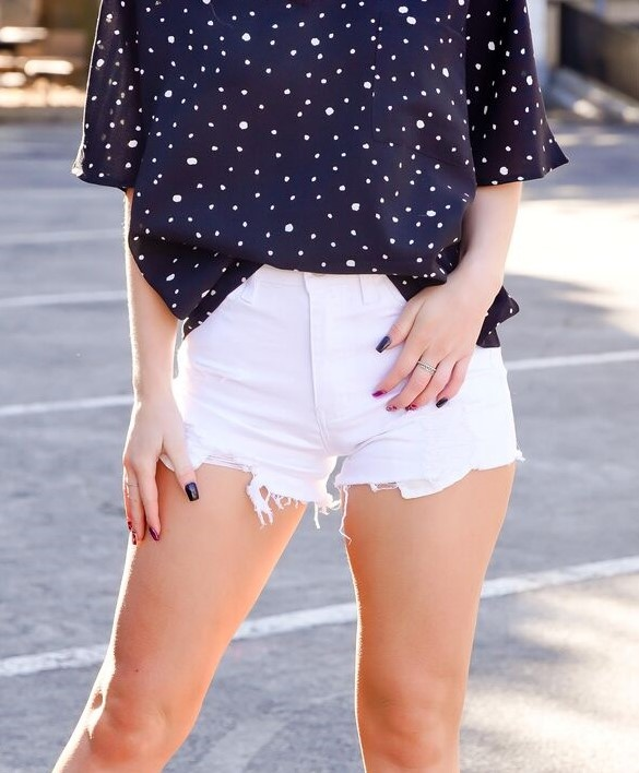Nature Denim White Distressed Shorts