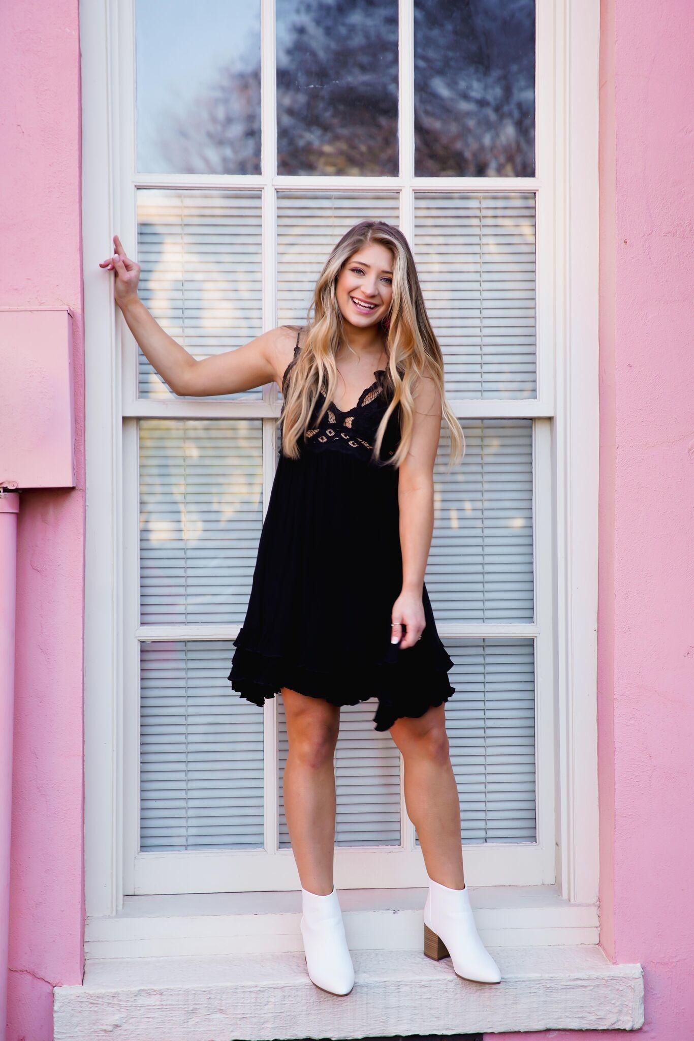 La Miel Black Crochet Lace Slip Dress