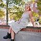 Gilli White/Black Stripe Ribbed Midi Dress