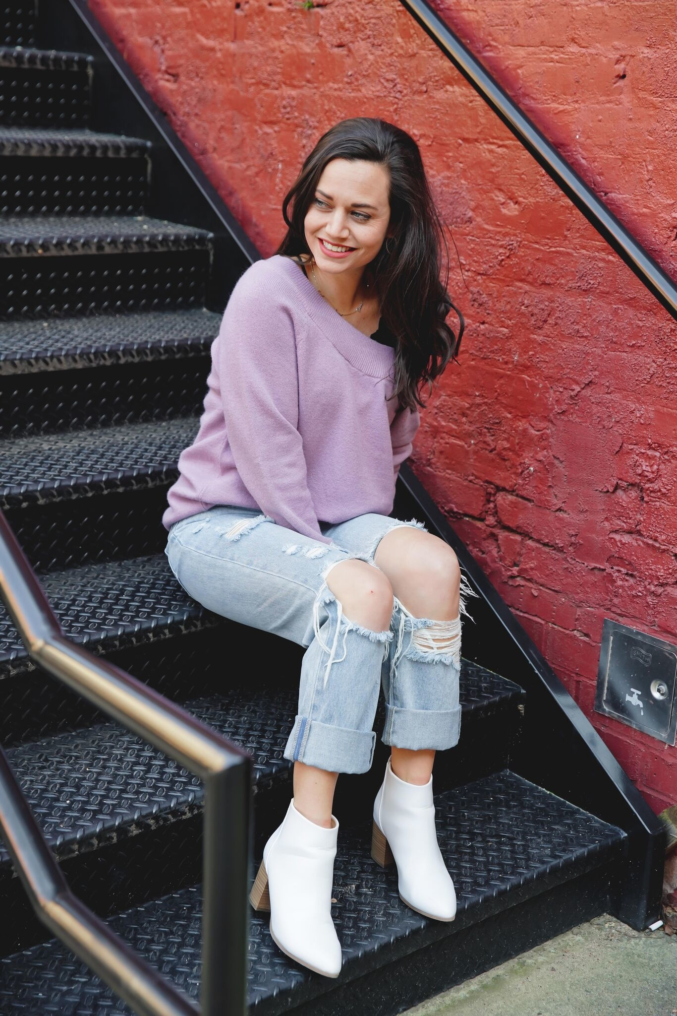 Kori Ash Purple Off Shoulder Sweater