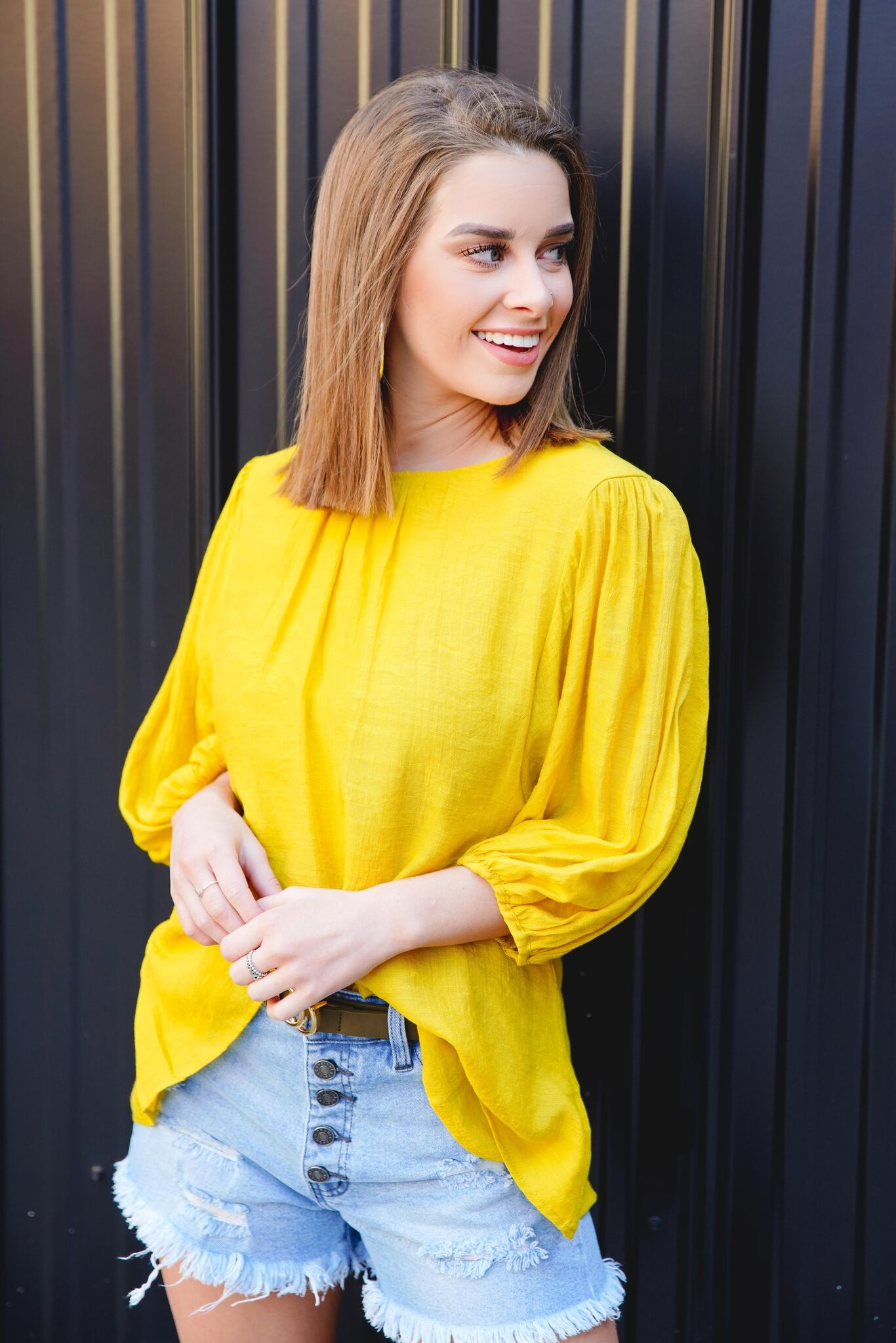 Kori Mustard Balloon Sleeve Top
