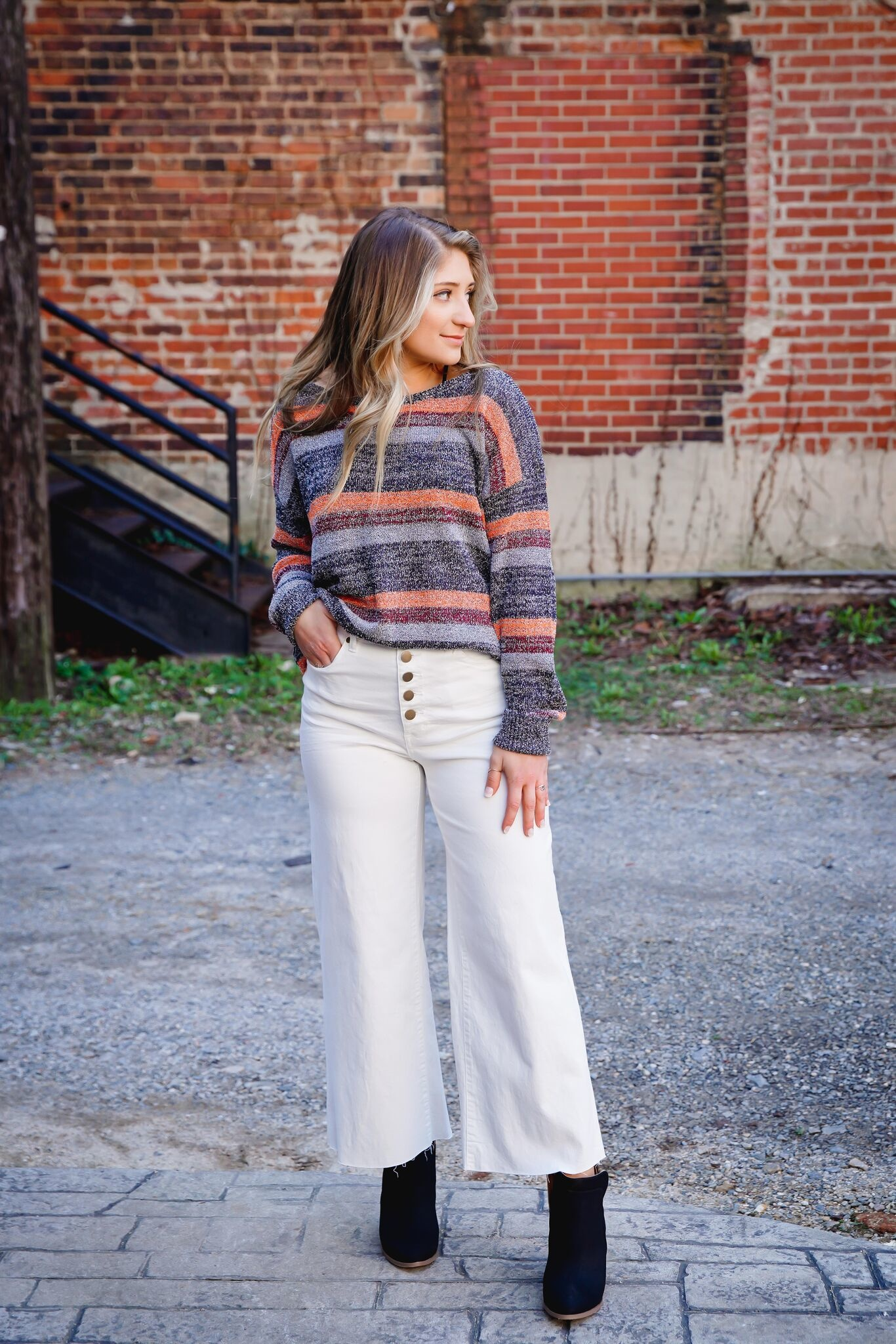 Kori Orange Mix Stripe Knit Top