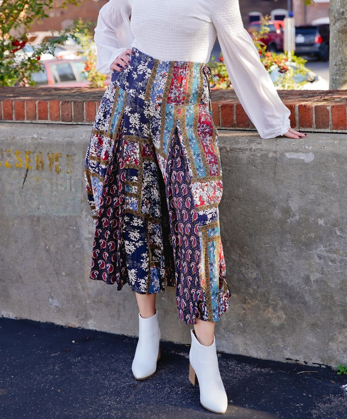 Easel Navy Patch Printed Wide Leg Pants
