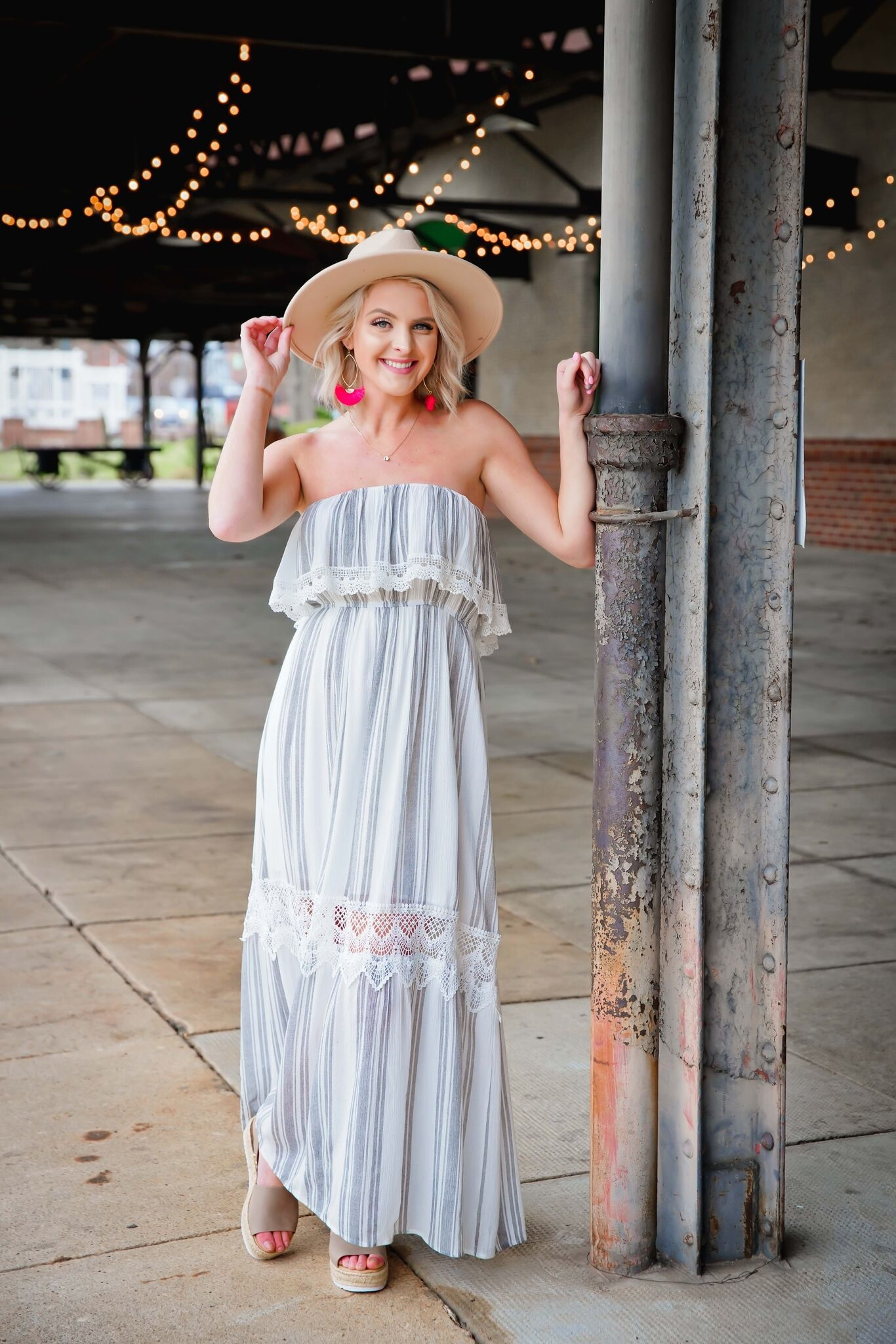 Off White Strapless Trimmed Maxi Dress