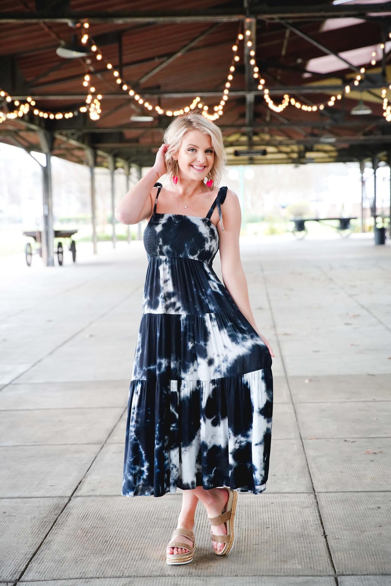 Black Tie-Dye Smocked Maxi Dress