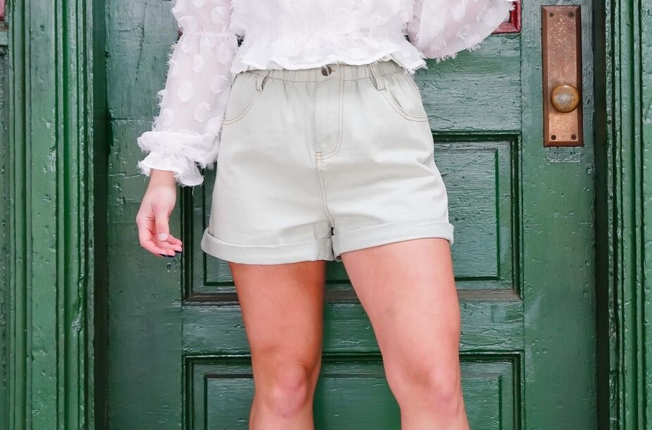 she+sky Sage Paper Bag Denim Shorts