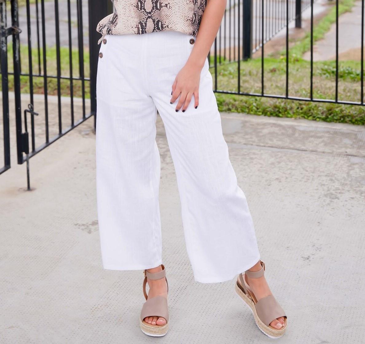 Ivory Button Pocket Linen Pants