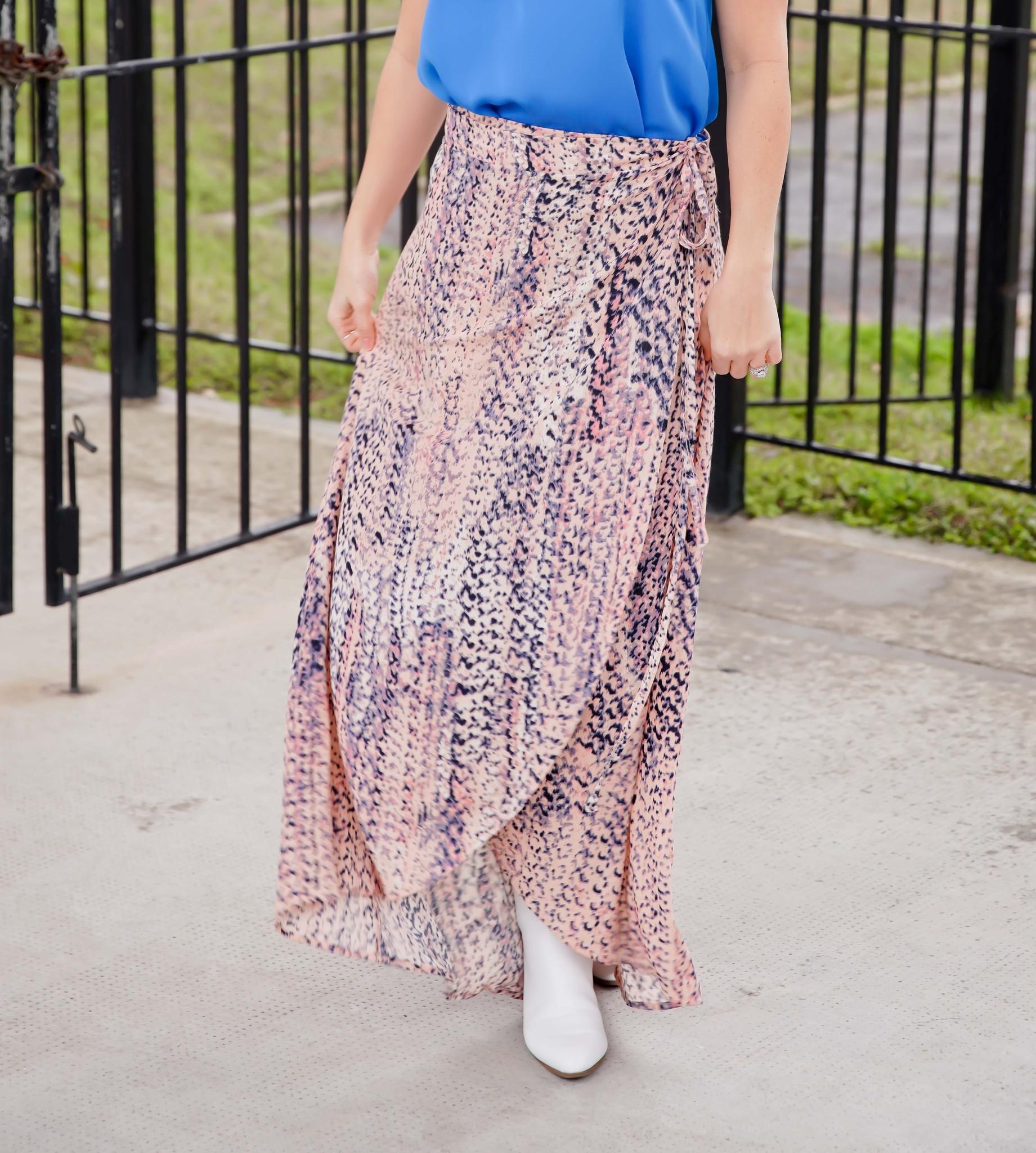 Ninexis Peach/Coral Wrap Maxi Skirt