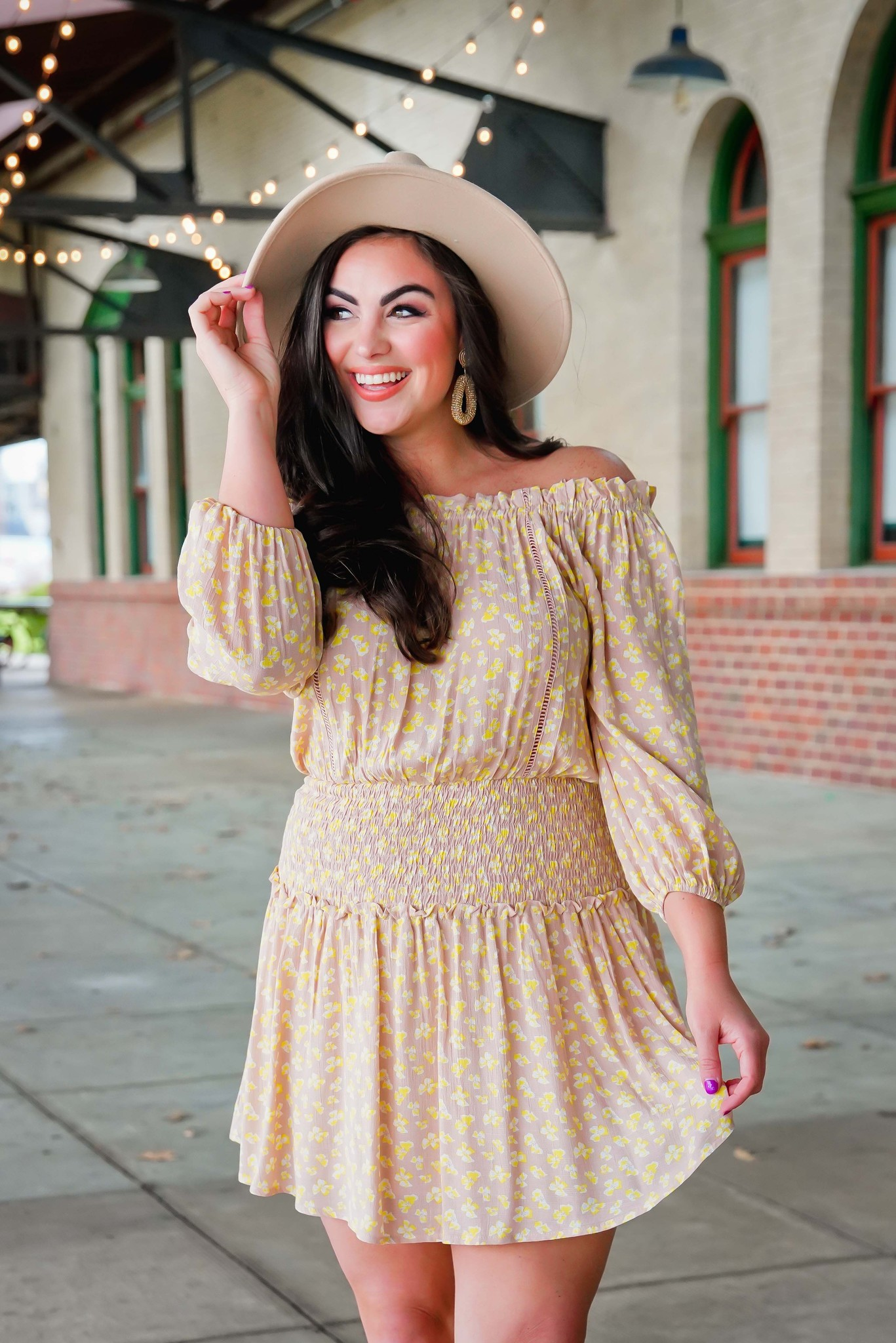 Lush Taupe Lemon Off Shoulder Smocked Mini Dress