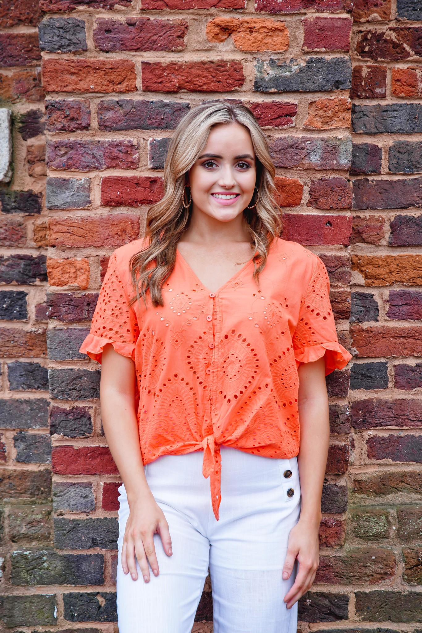 Main Strip Apparel Coral Ruffle Sleeve Front Tie Top