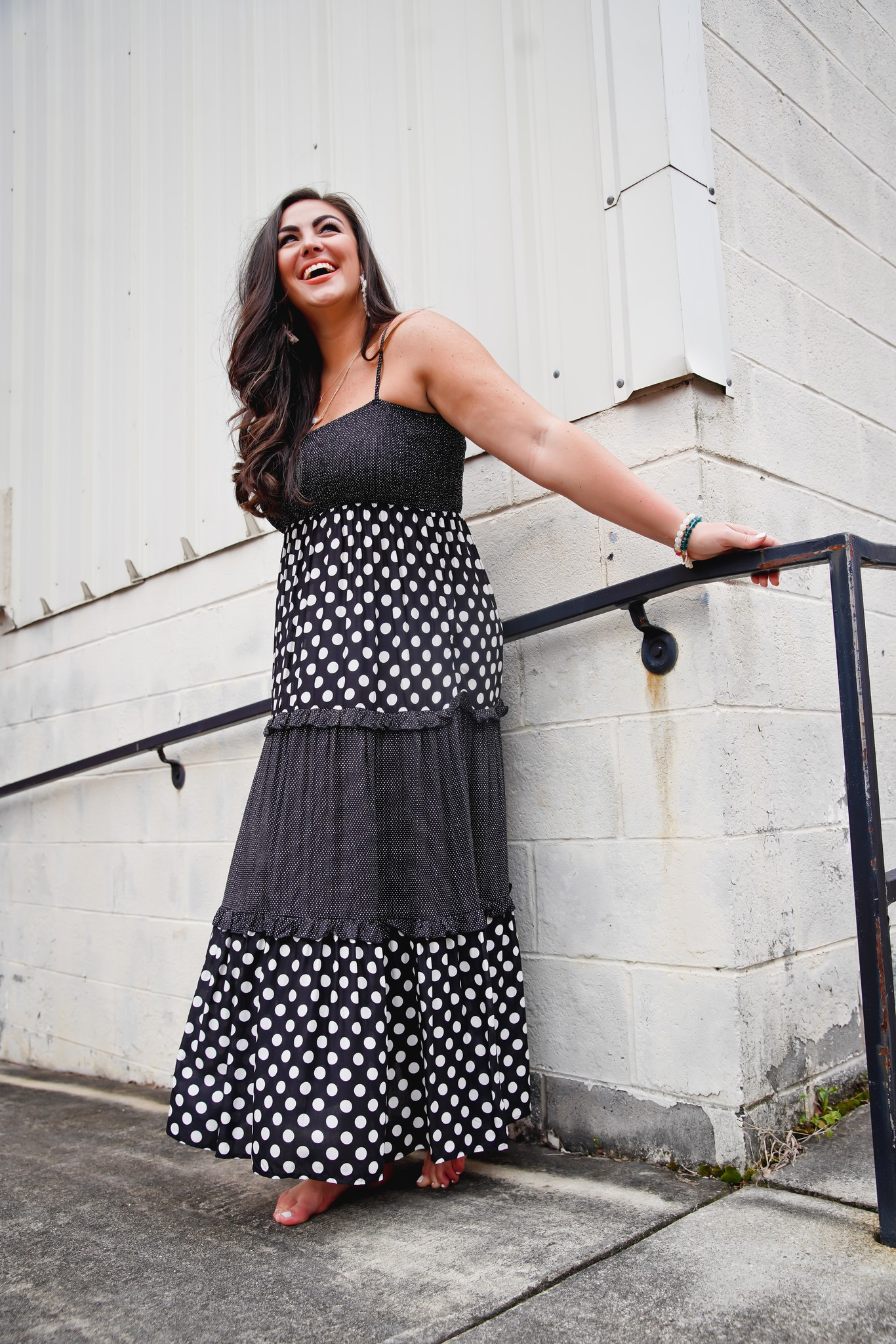 Easel Black Polka Dot Mix Maxi Dress