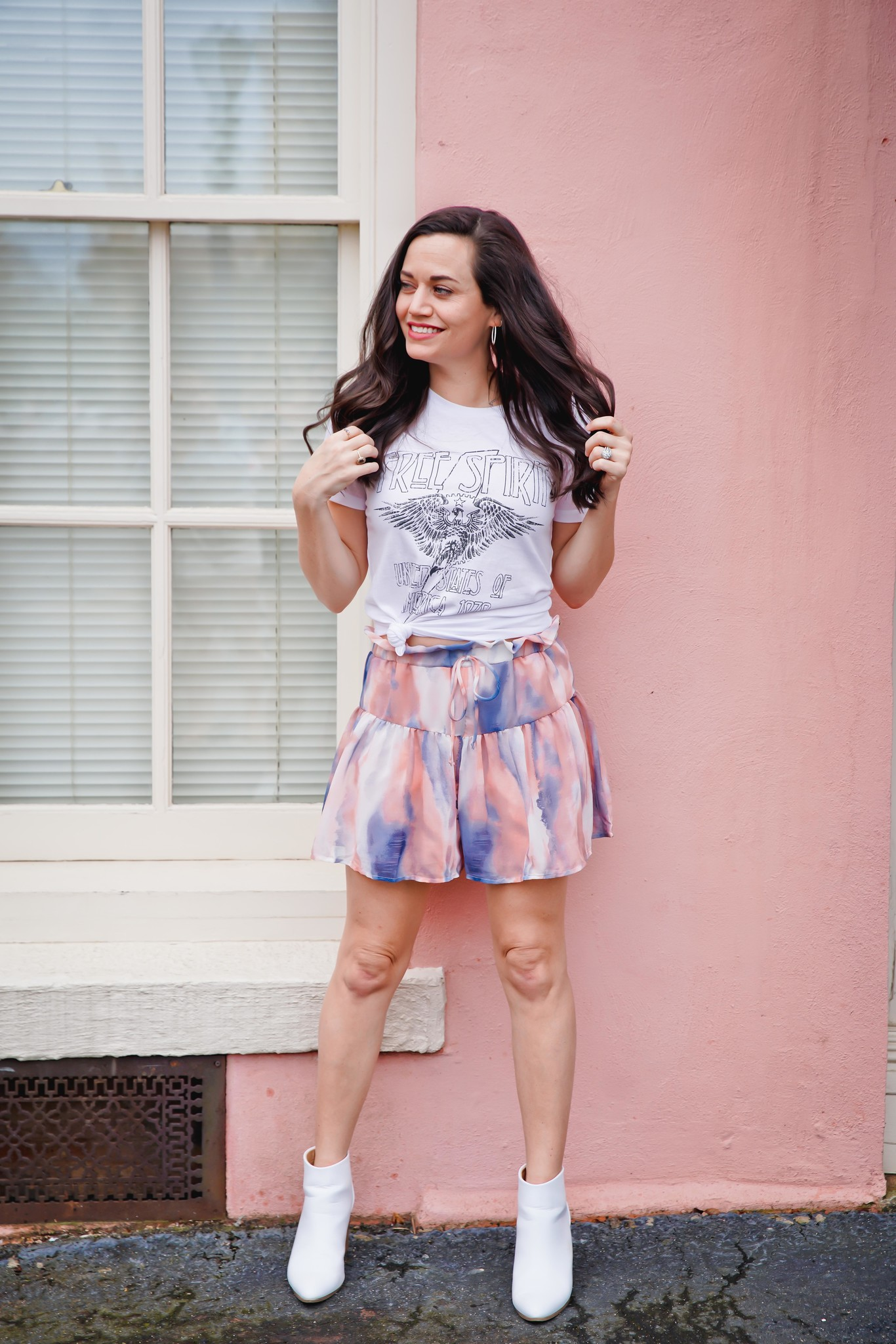 Coral/Navy Tie Dye Shorts