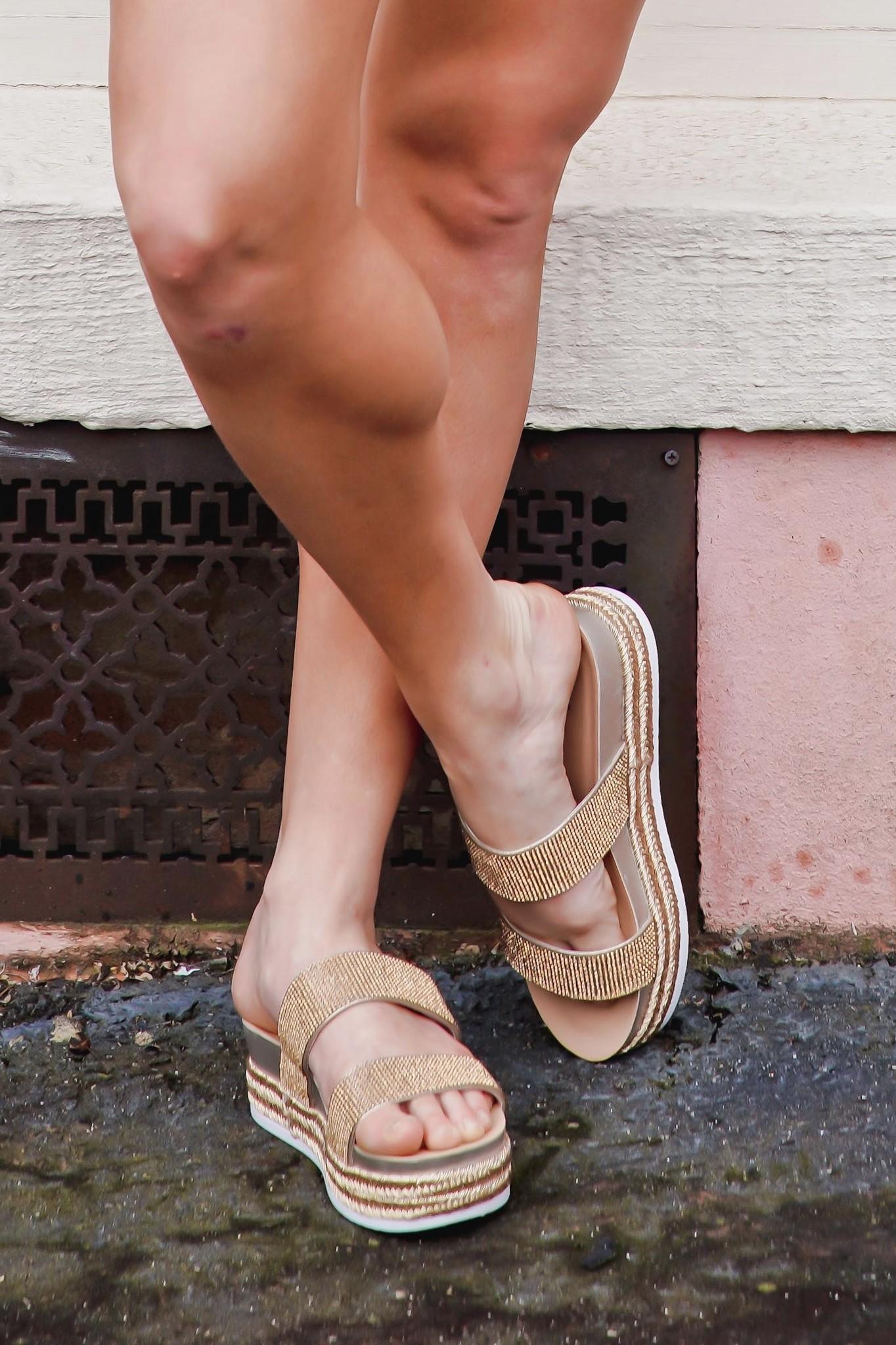 Forever Gold Stud Platform Sandals