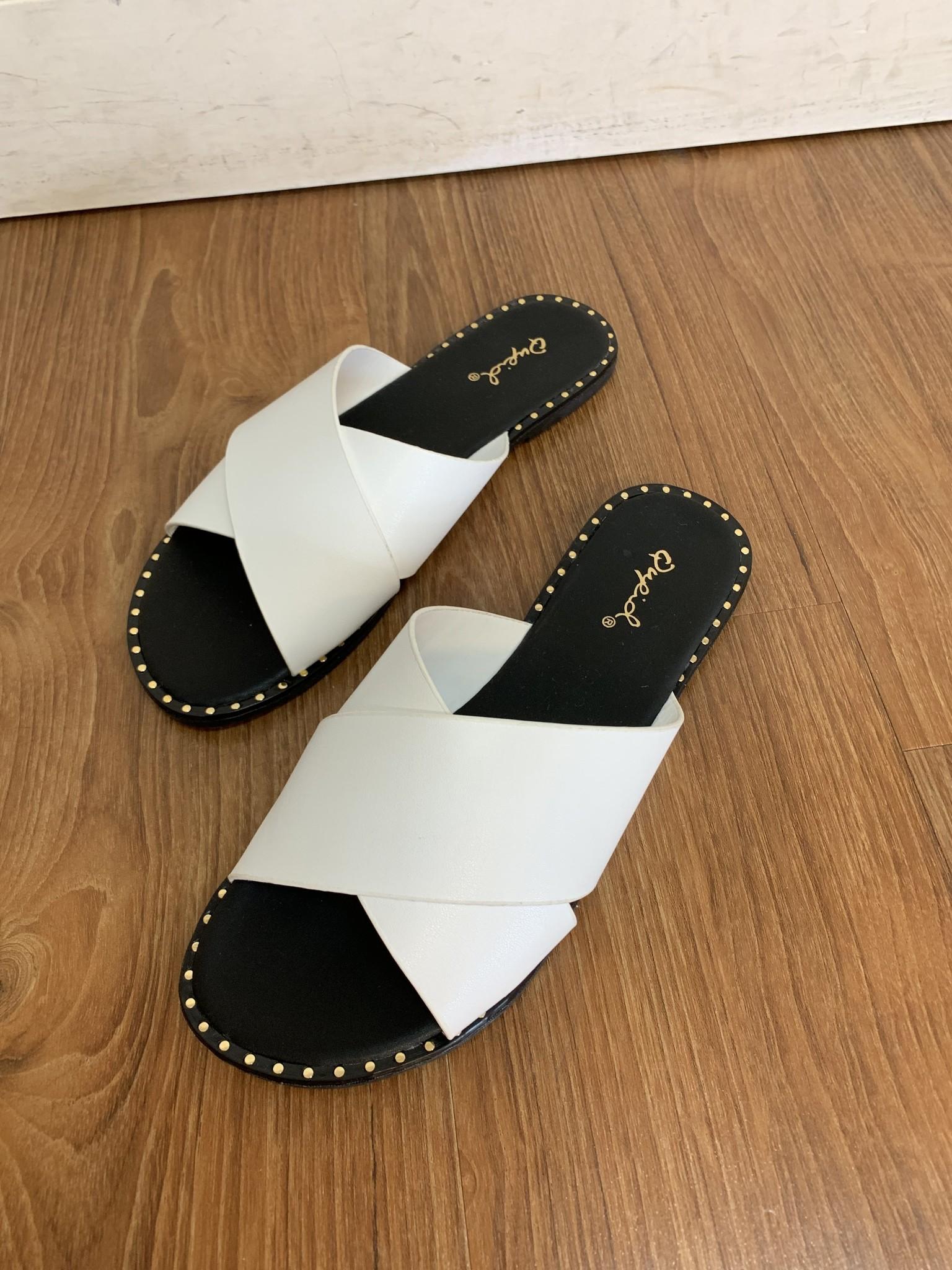 Insignia White Flat Sandal