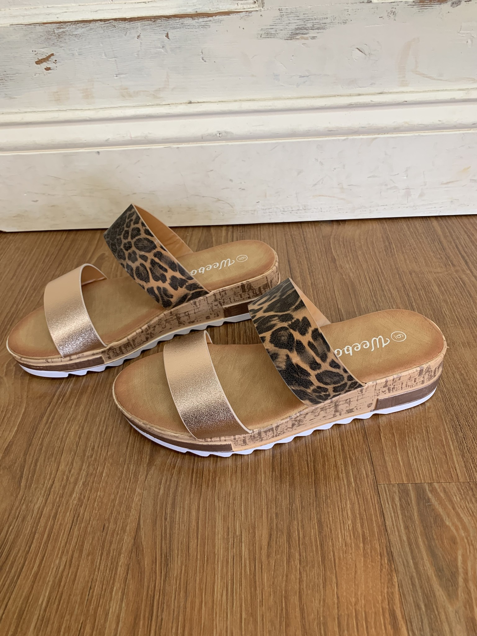 Weeboo Leopard/Rose Gold Double Strap Sandal