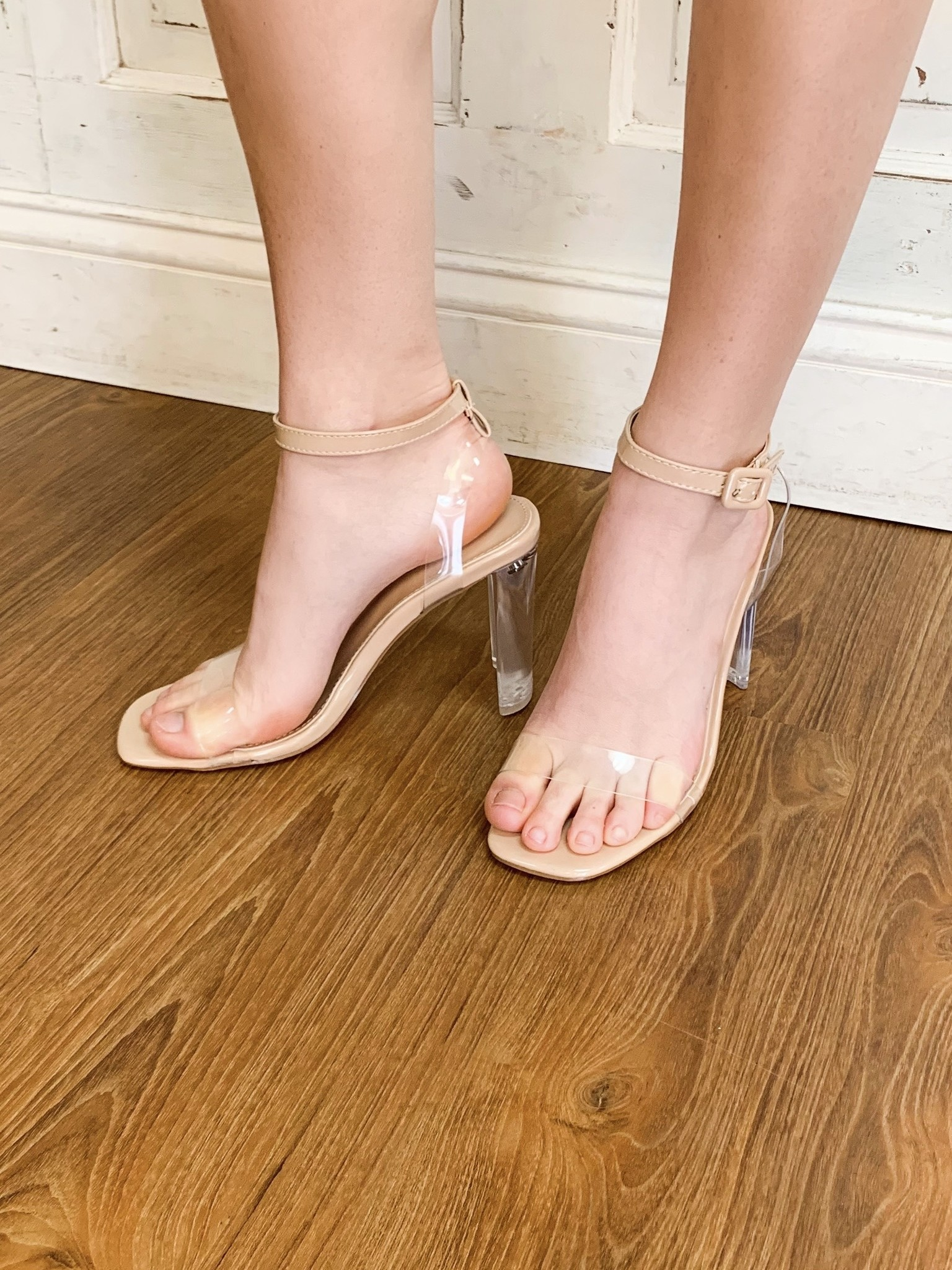 Bella Marie Clear Heel One Strap Sandal