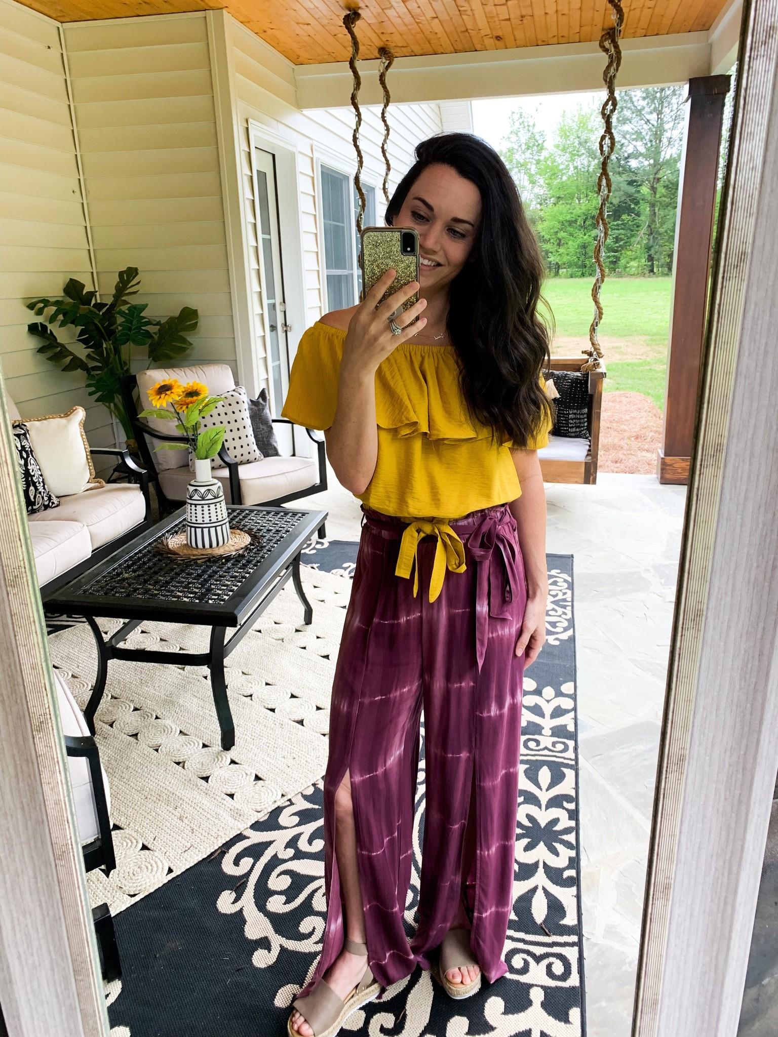 Hem & Thread Grape Tie Dye Front Slit Pants