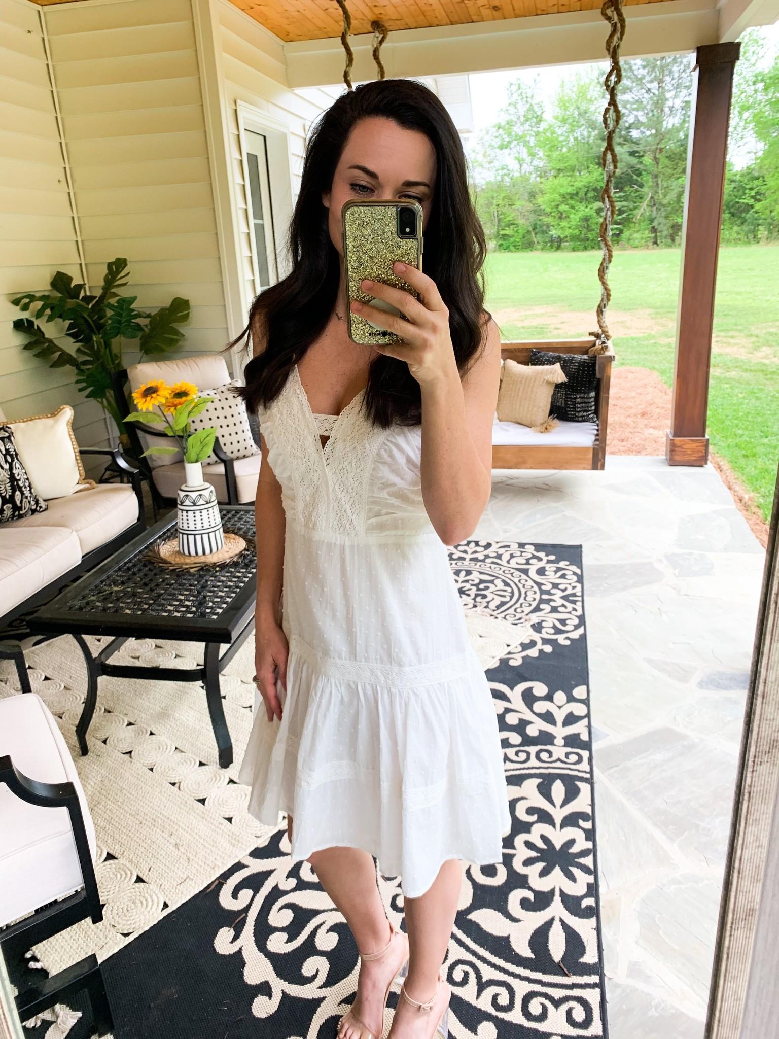 Hem & Thread Ivory Lace Detailed Textured Dress