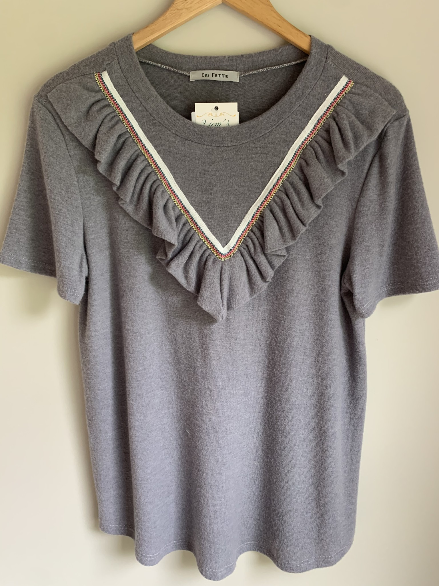 Ces Femme Grey Overlay Collar Detail Top