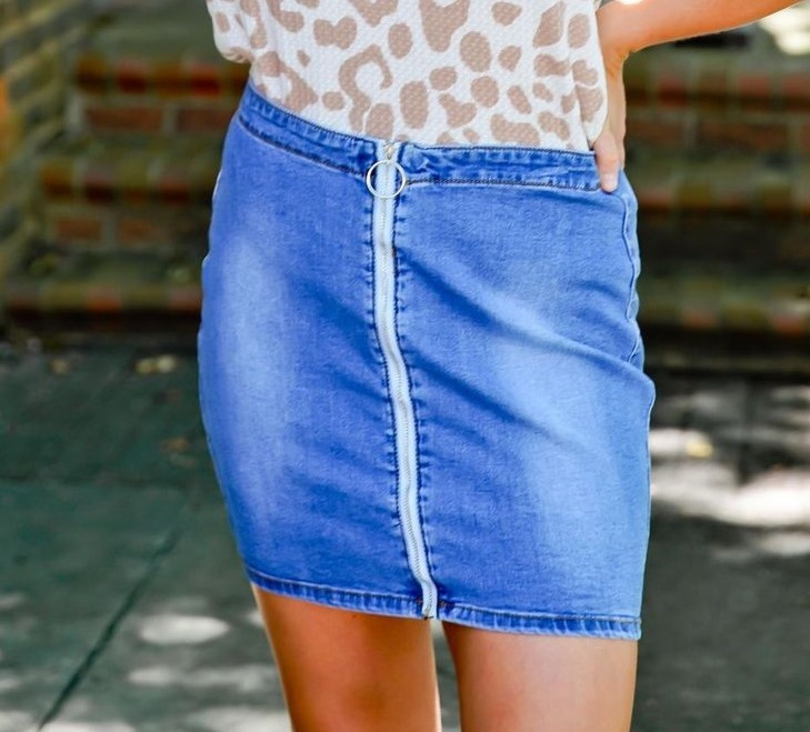 Denim Ring Detail/Zipper Skirt