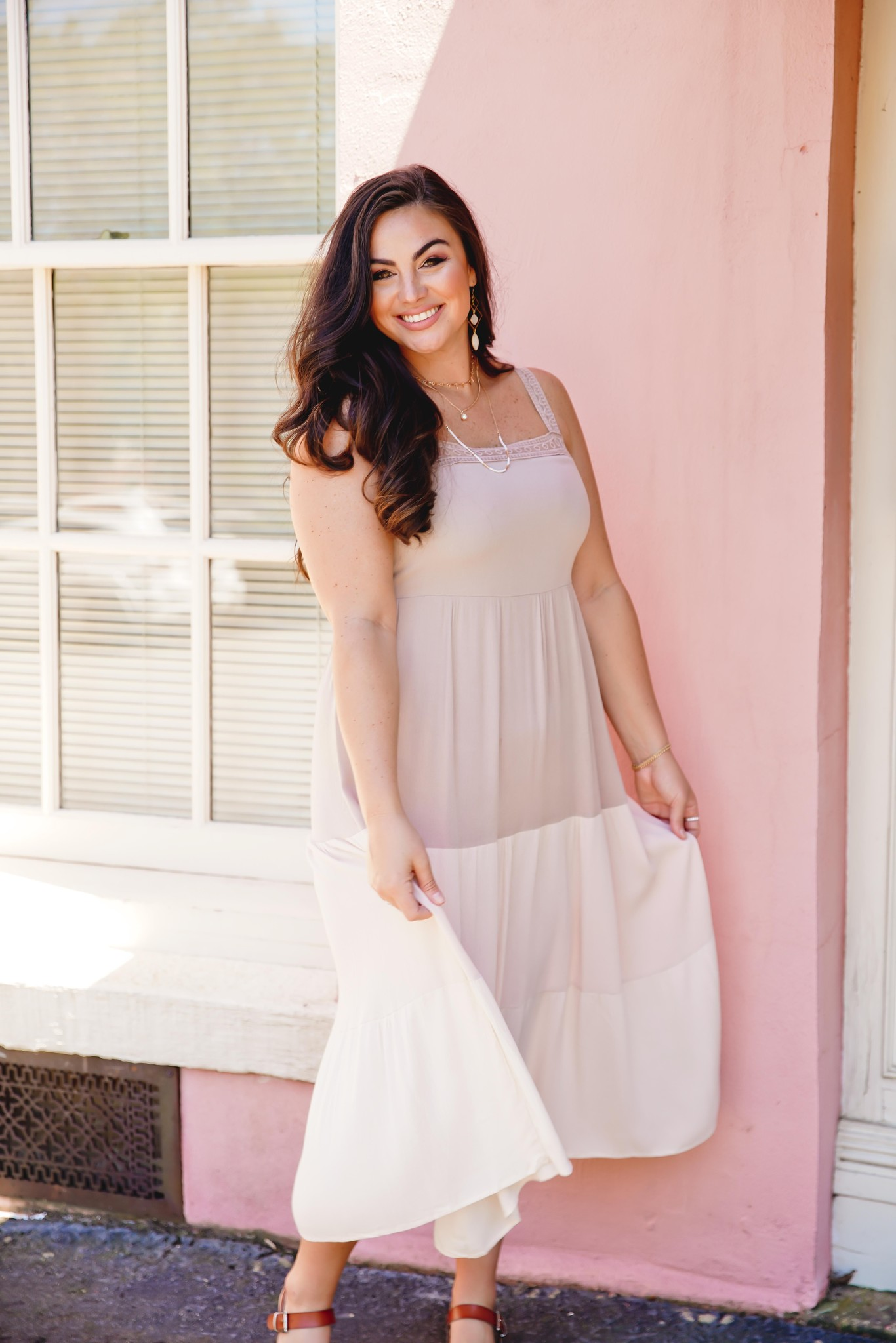 Beige Color Blocked Ruffle Maxi Dress