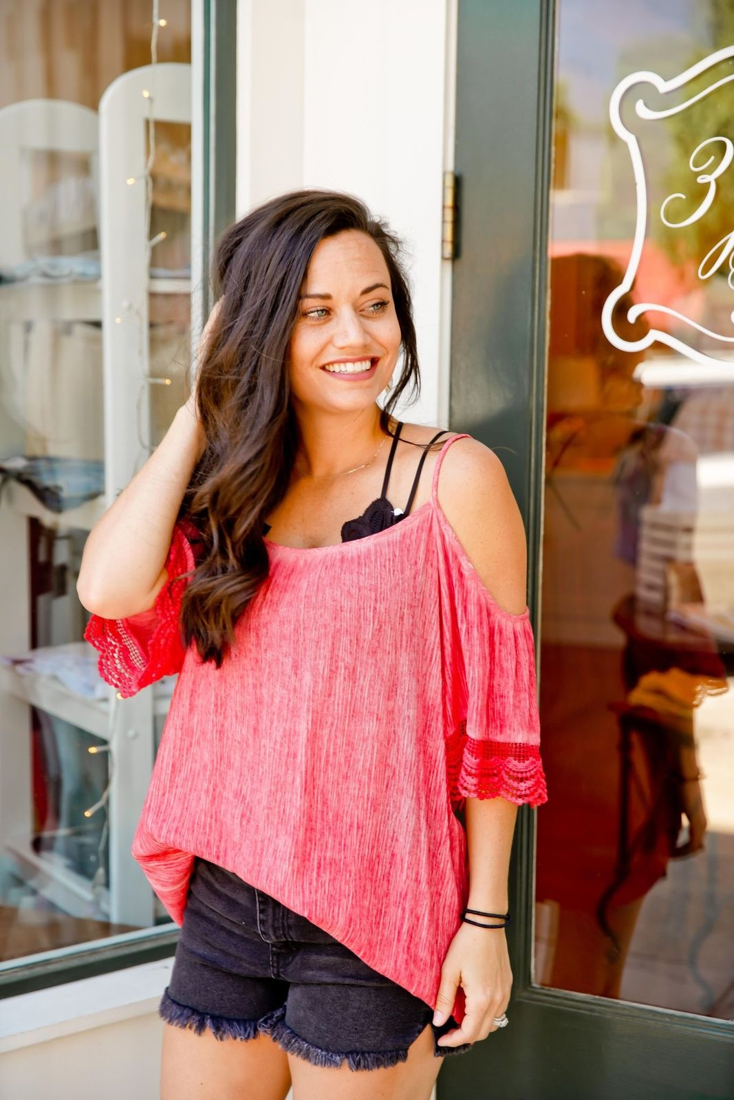 My Story Washed Coral Cold Shoulder Top