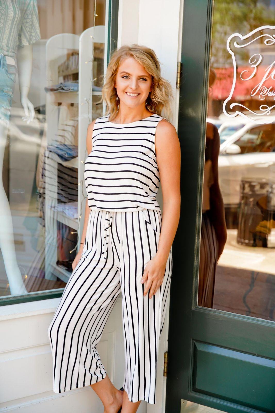 Zenana Ivory/Black Stripe Drawstring Jumpsuit