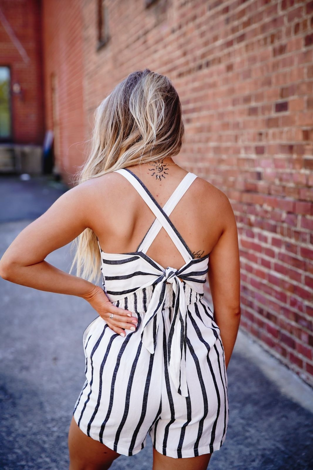 Love Tree Ivory/Black Ribbon Tie Stripe Romper