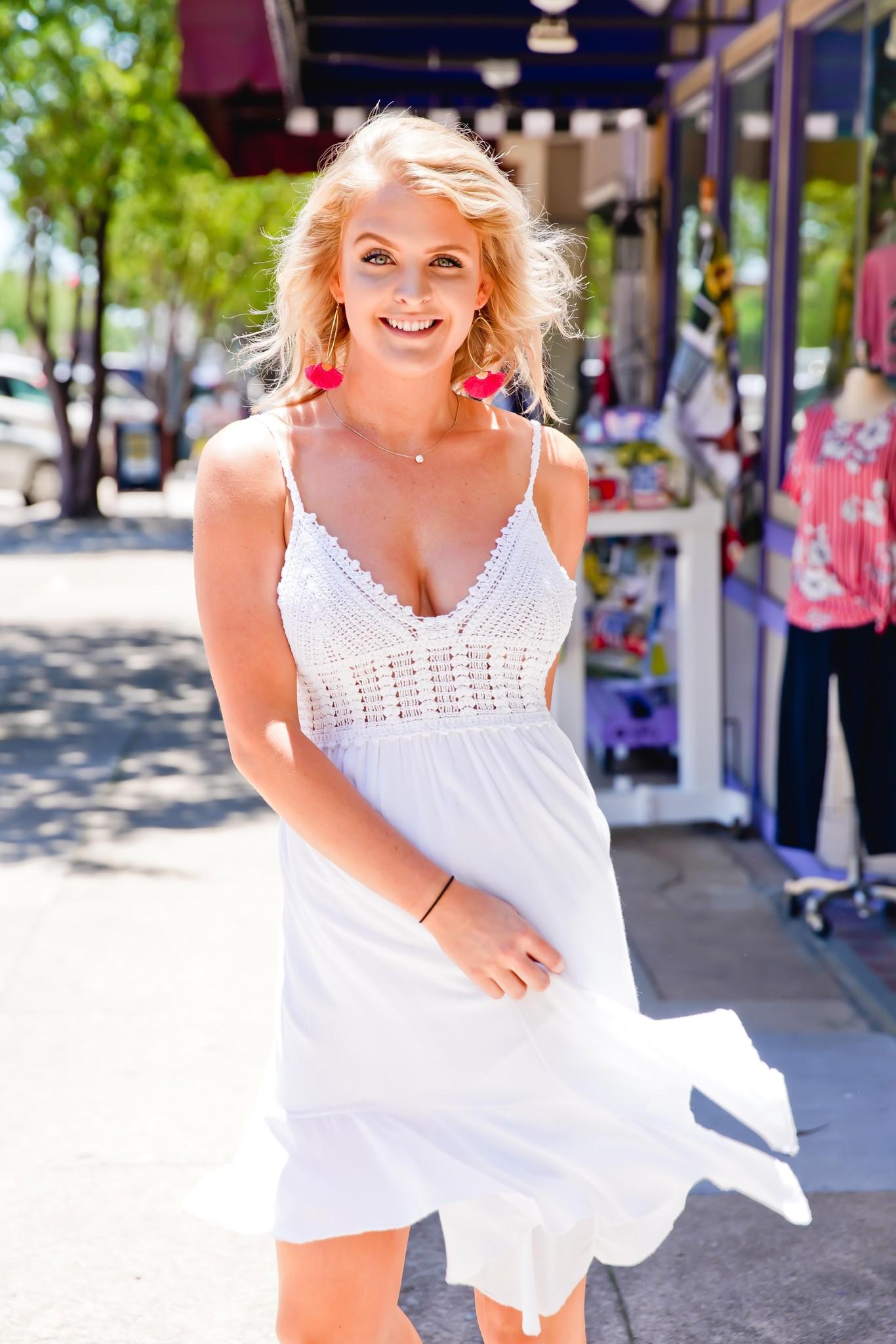 Hem & Thread Ivory Bralette Ruffle Mini Dress