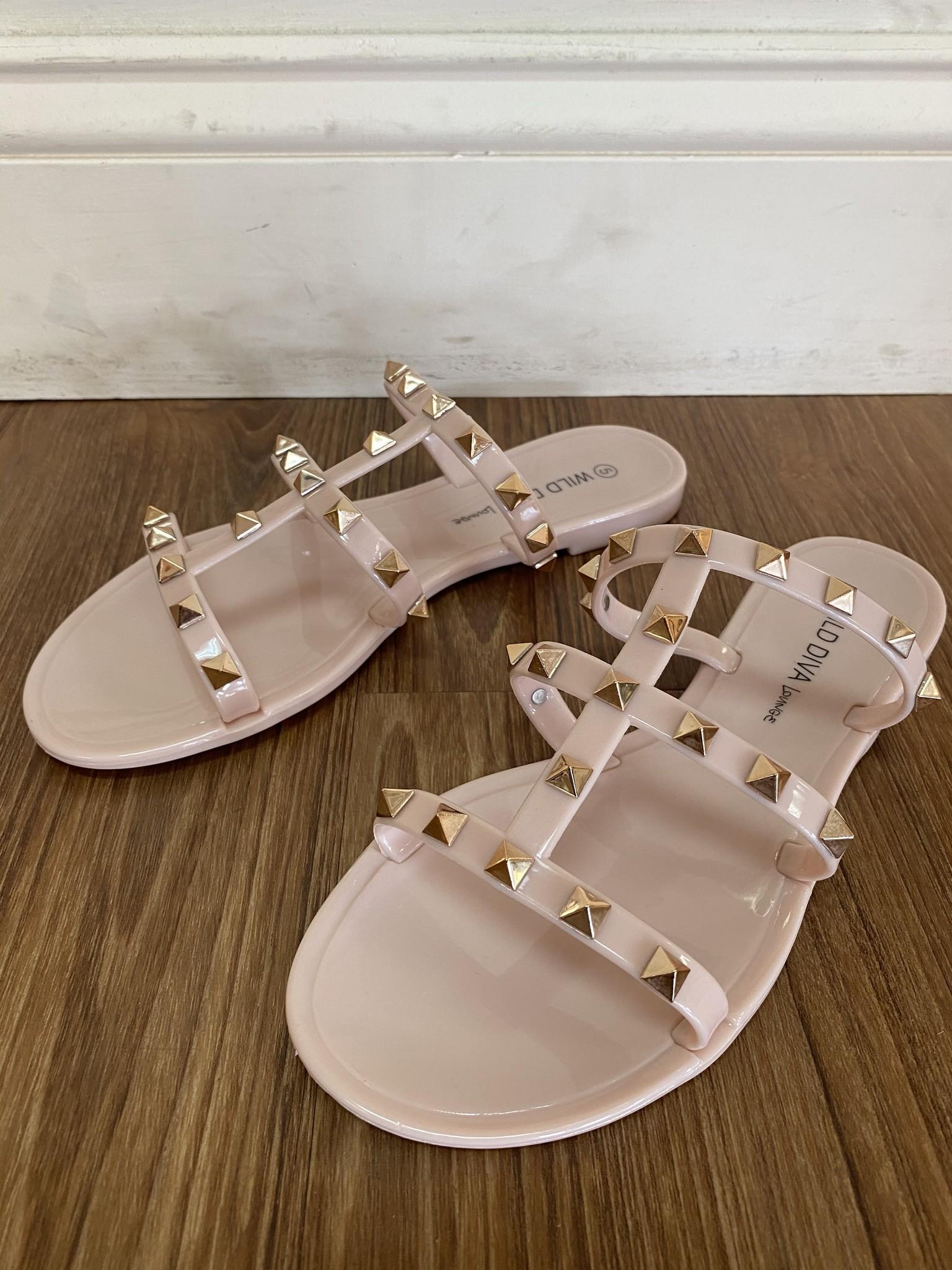 Wild Diva Nude Gold Stud Flat Sandal