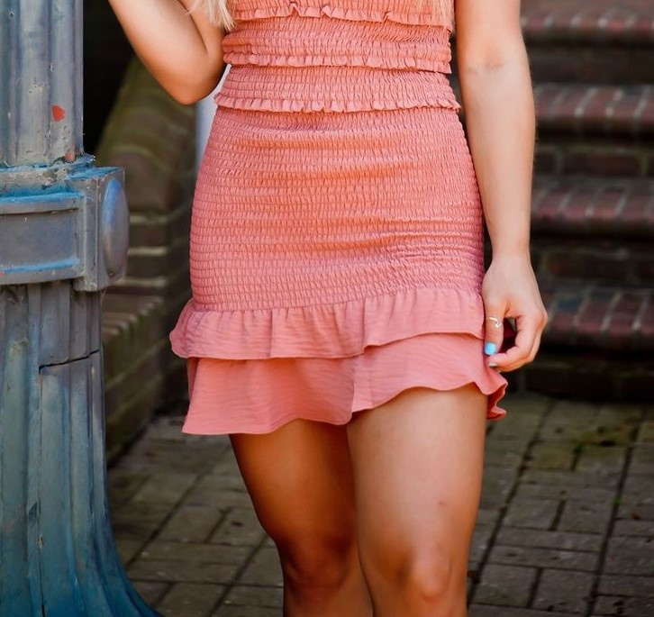 Rust Ruffle Hem Smocked Mini Skirt