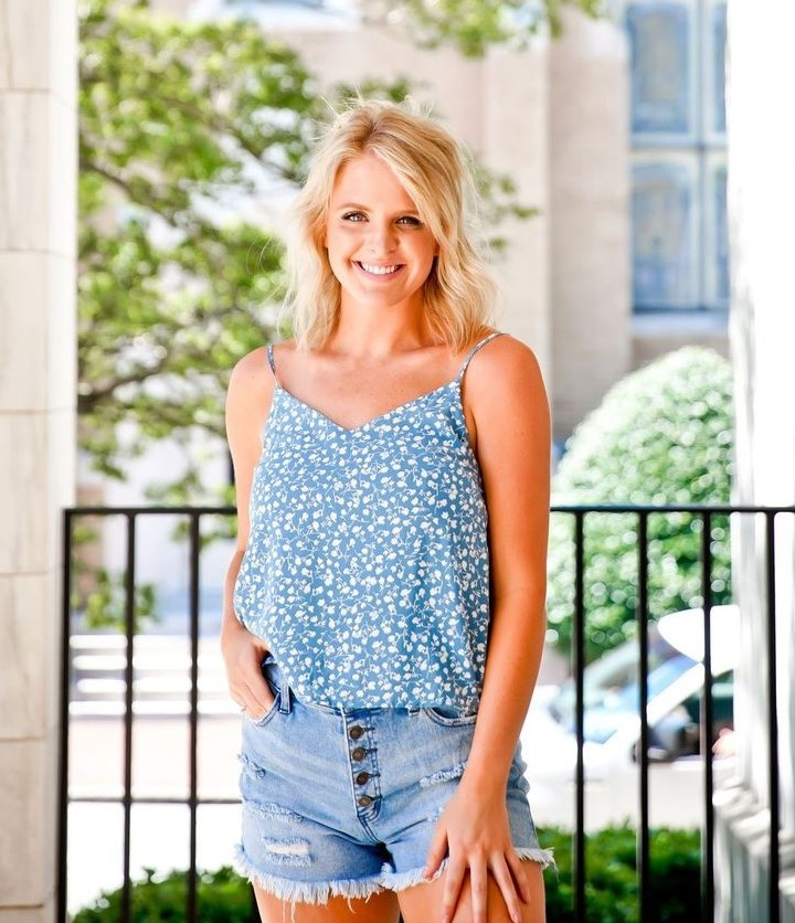 Fascination Blue Back Tie Floral Woven Tank