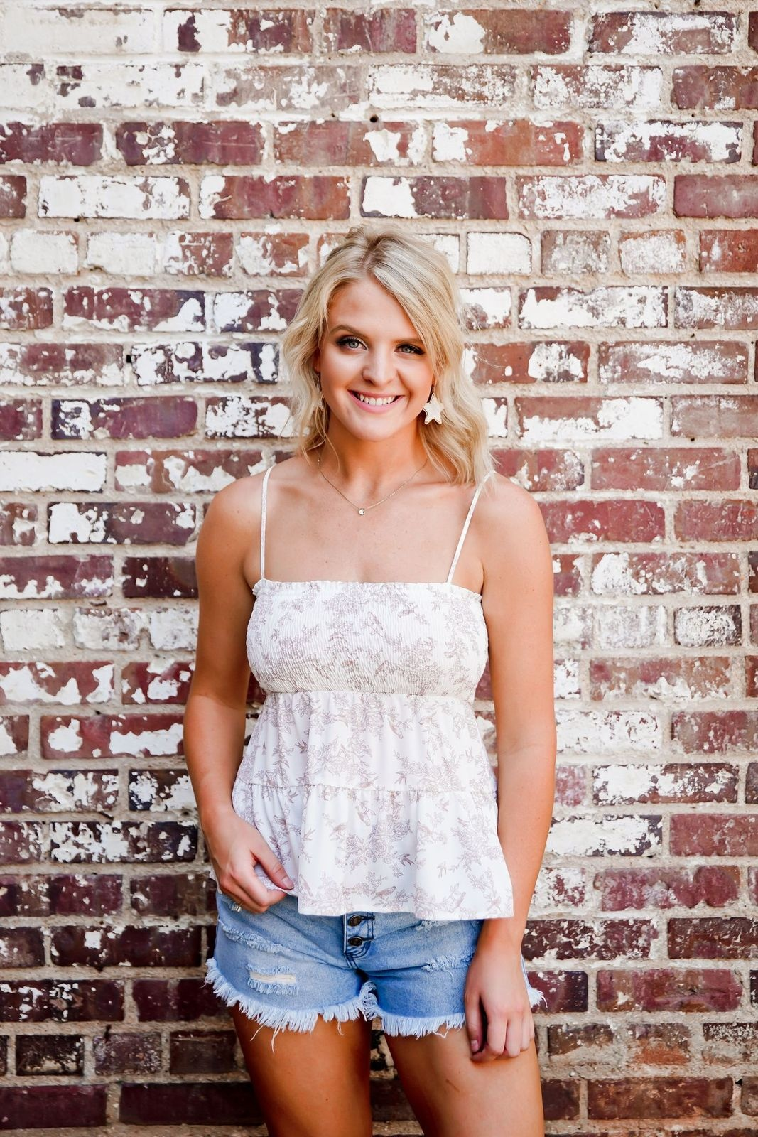 Ivory/Mauve Smocked Tiered Top