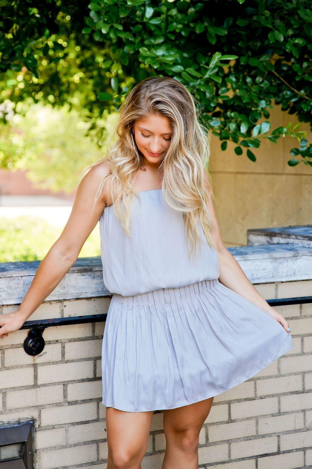 Silver Strapless Pleated Skirt Dress