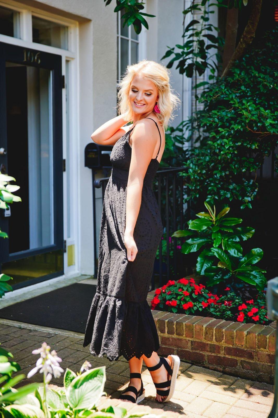White Birch Black Sleeveless Maxi Dress w/ Button Down