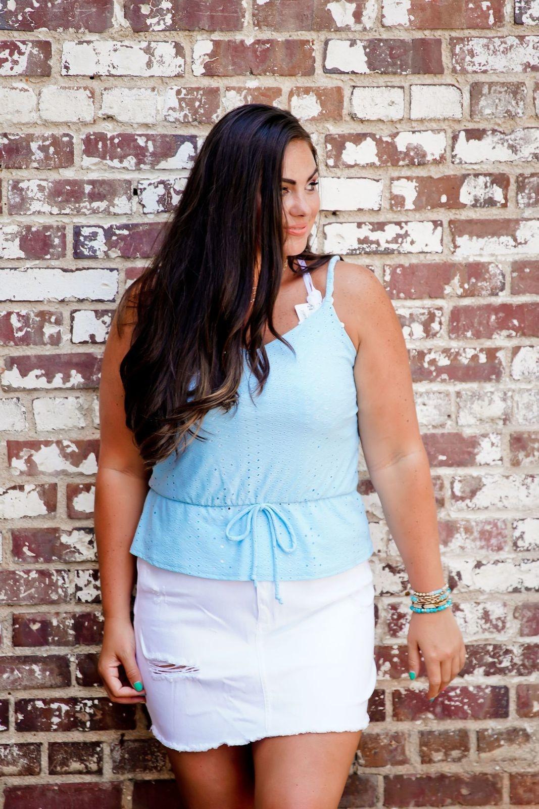 White High Waist Fringe Detail Skirt