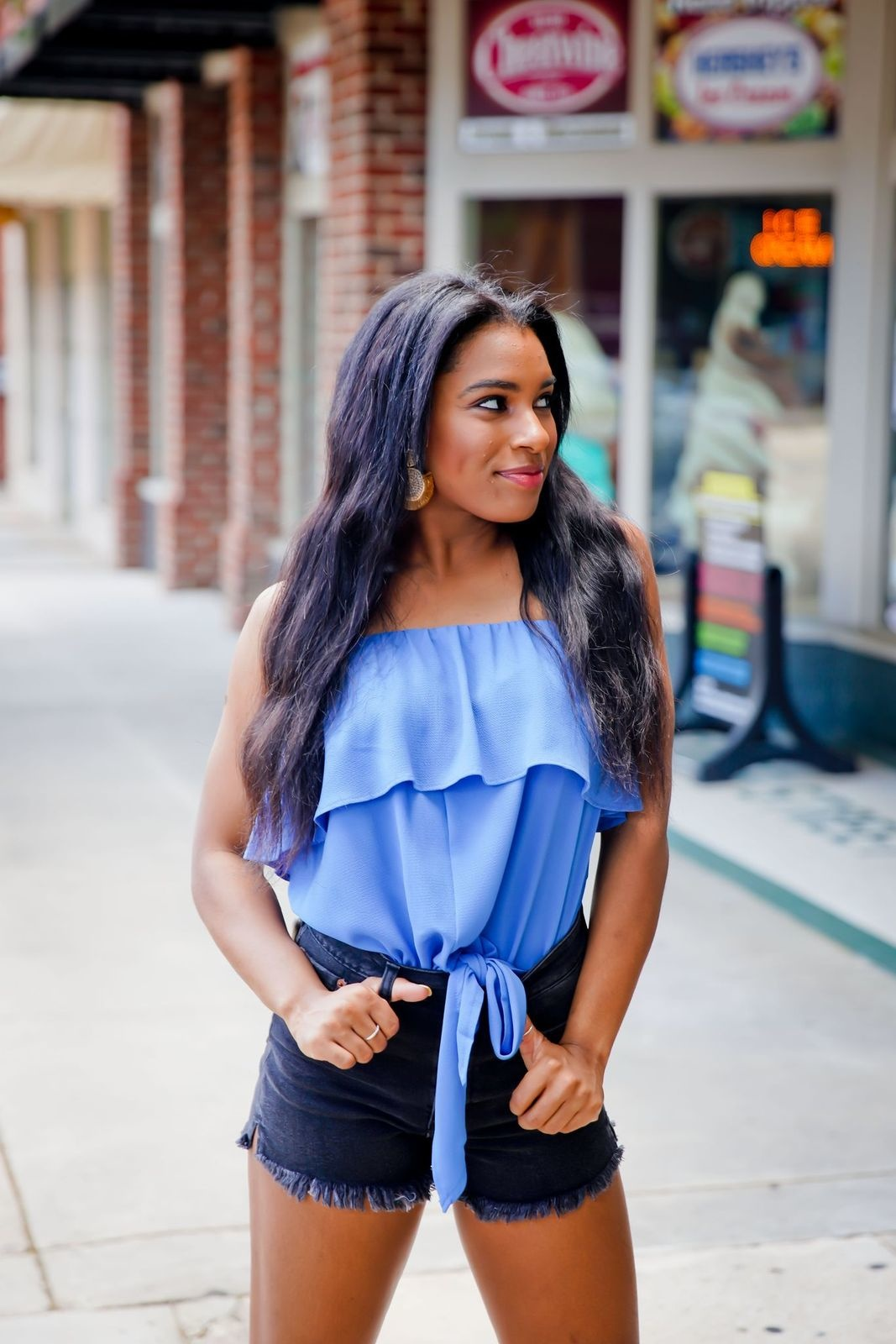 Blue Strapless Ruffle Front Tie Top