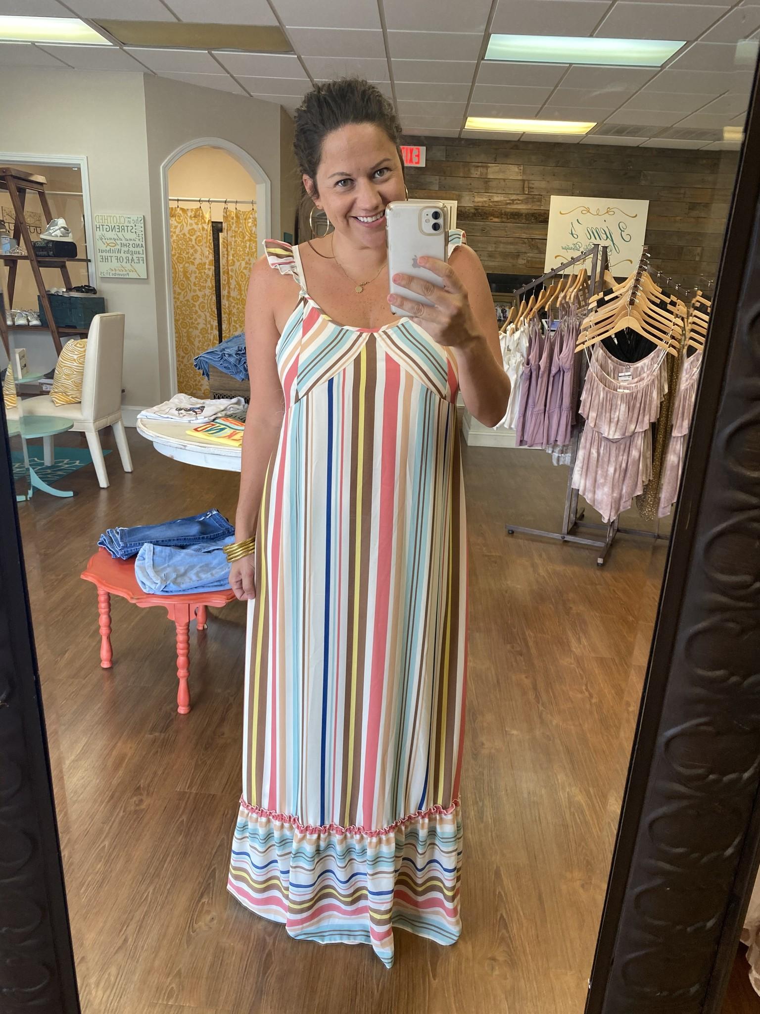 L Love Mint Striped Maxi Dress