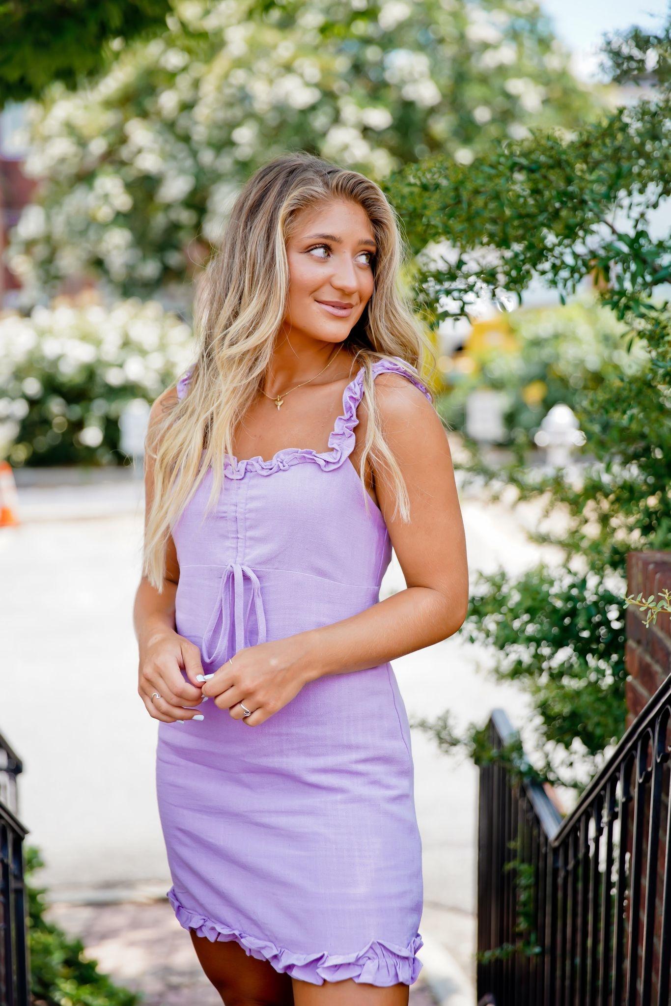 Lavender Ruffle Trim Woven Tank Dress
