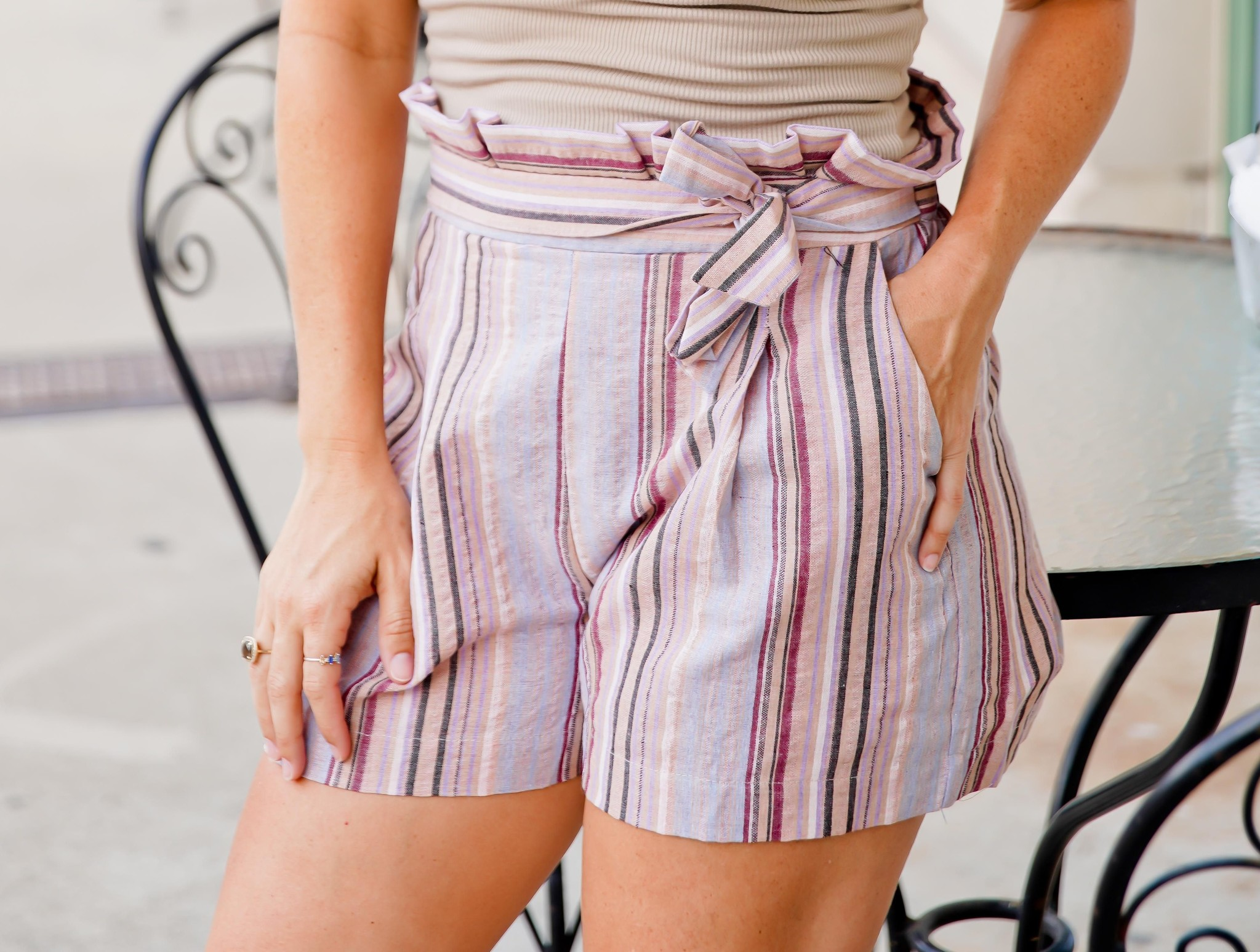 Mauve Pleated Paper Bag Shorts