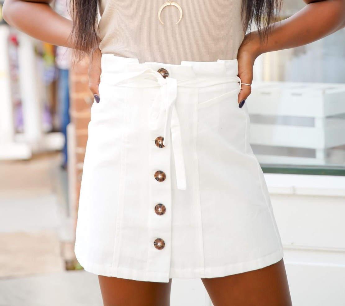 White Button Paper Bag Skirt